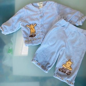 Disney Pooh Bear blue velour outfit 3-6 m